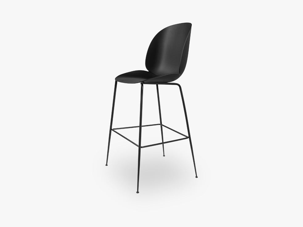 Beetle Bar Chair - Un-upholstered - 74 cm Conic Black base, Black shell fra GUBI