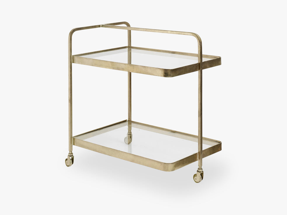 TROLLEY, brass, glass, 3 wheels fra Nordal