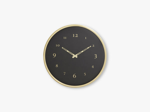 Wall clock, brass w/black base fra Nordal