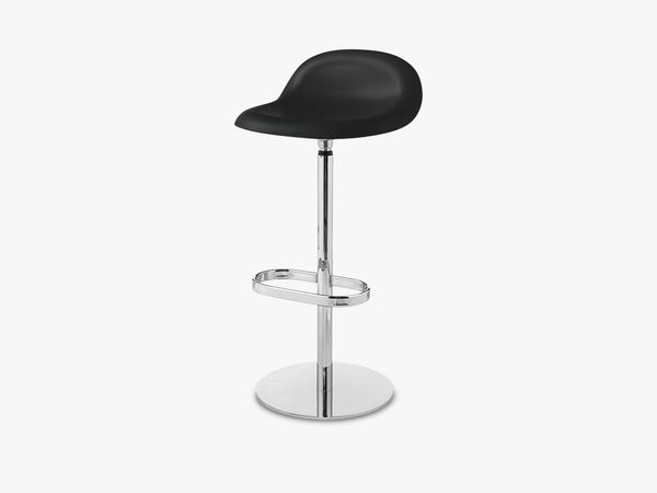 3D Bar Stool - Un-upholstered - 75 cm Swivel Chrome base, Midnight Black shell fra GUBI