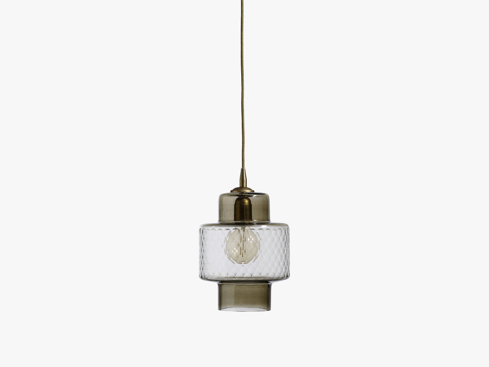 Glass lamp f/hanging, smoke w/cut glass fra Nordal