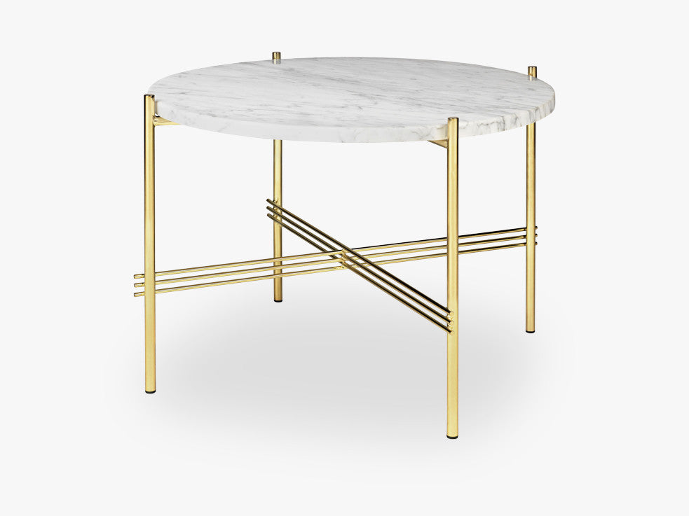 TS Coffee Table - Dia 55 Brass base, marble white top fra GUBI