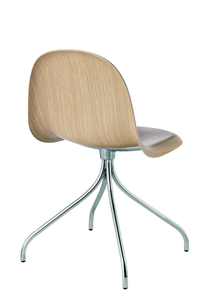 3D Dining Chair - Un-upholstered Swivel Chrome base, Oak shell fra GUBI
