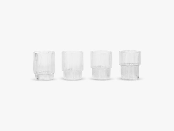 Ripple Small Glasses - Set of 4, Clear fra Ferm Living