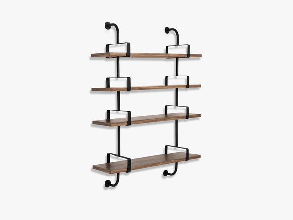 Démon Shelf - 2 Brackets - 95 cm 4 shelves, Walnut shell fra GUBI
