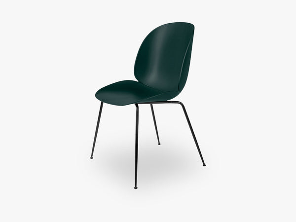 Beetle Dining Chair - Un-upholstered Conic Black base, Green shell fra GUBI