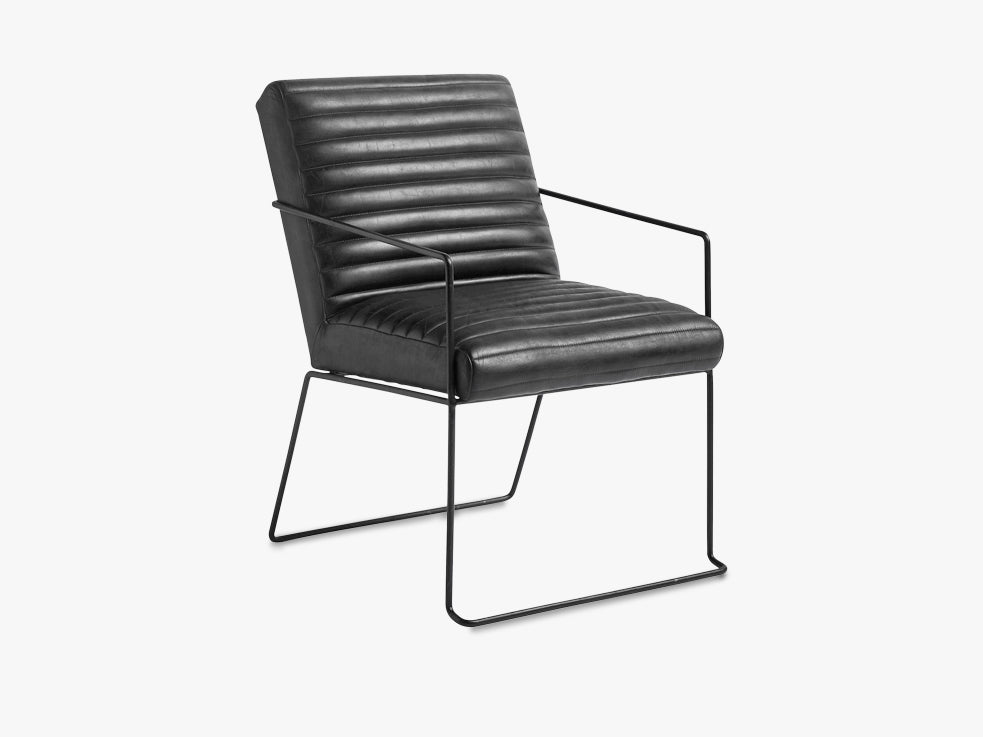 Arm chair, black leather w/iron base fra Nordal