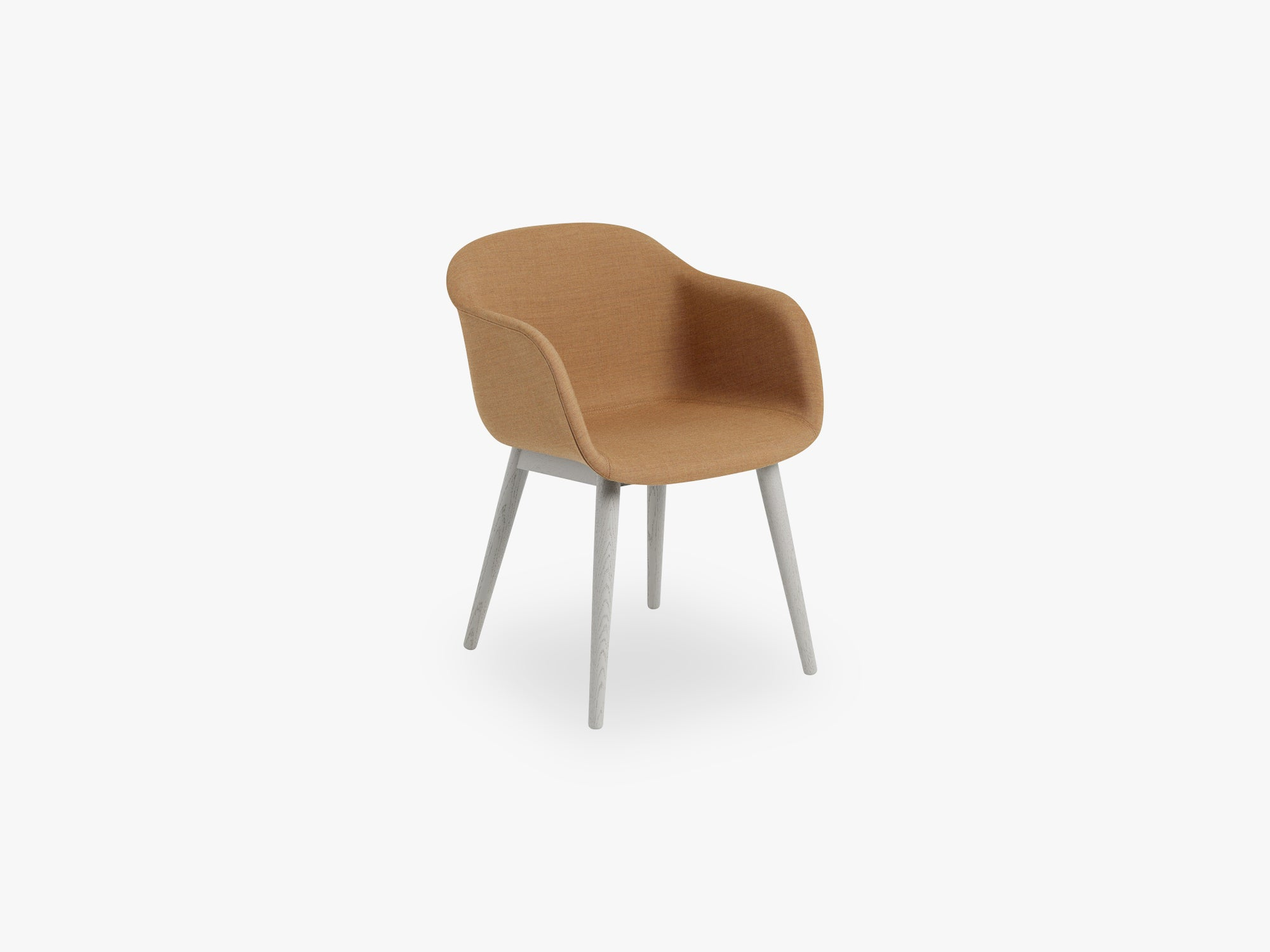 Fiber Armchair - Wood Base - Textile Shell, Remix 433 / Grey fra Muuto