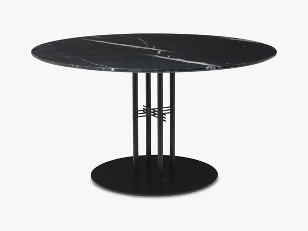 TS Column - Lounge table - Dia 130 Black base, Marble black top fra GUBI