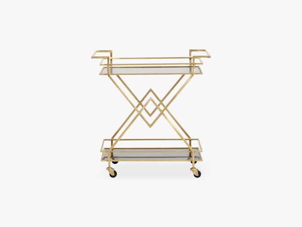 Trolley, golden w/black glass fra Nordal