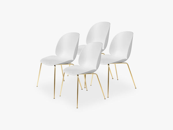 Beetle Dining Chair 4 pcs - Conic Brass Semi Matt Base, Pure White fra GUBI