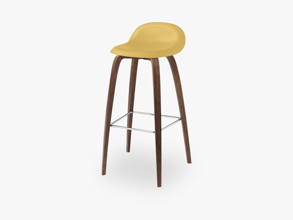 3D Bar Stool - Un-upholstered - 75 cm American Walnut base, Venetian Gold shell fra GUBI