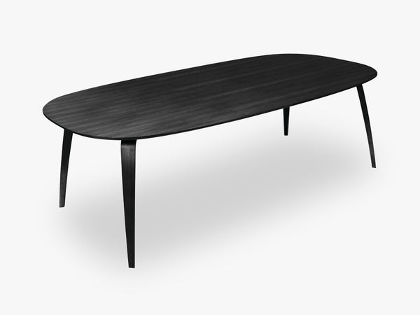 GUBI Dining Table - Eliptical - 120x230x72 cm, Black Stained Ash base, Black Stained Ash top fra GUBI