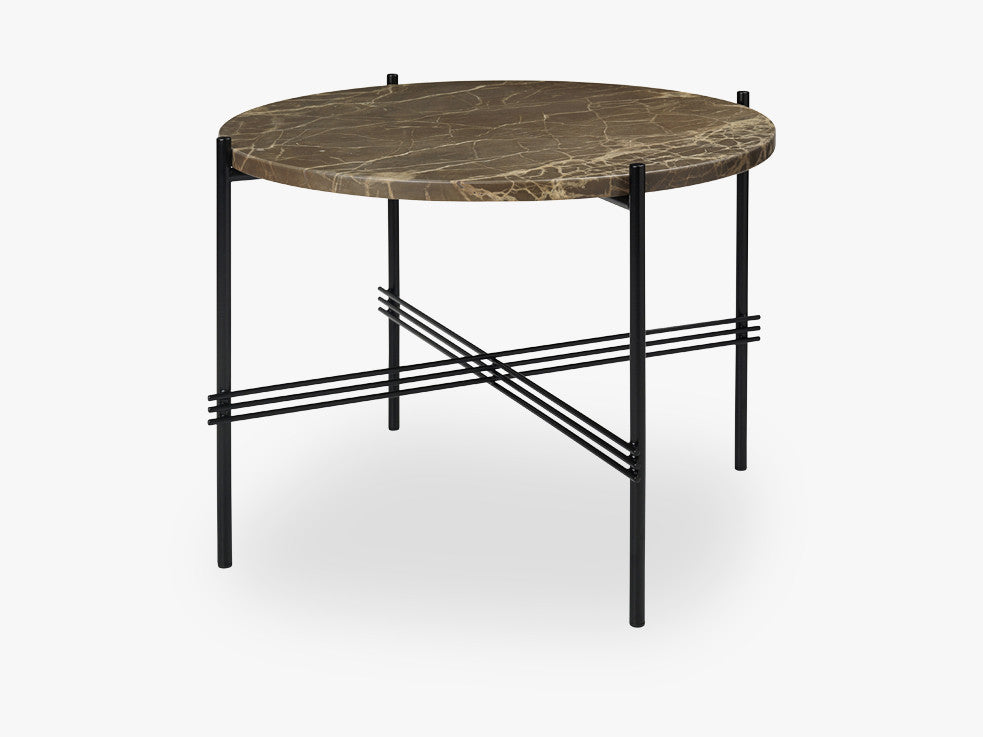 TS Coffee Table - Dia 55 Black base, marble brown top fra GUBI