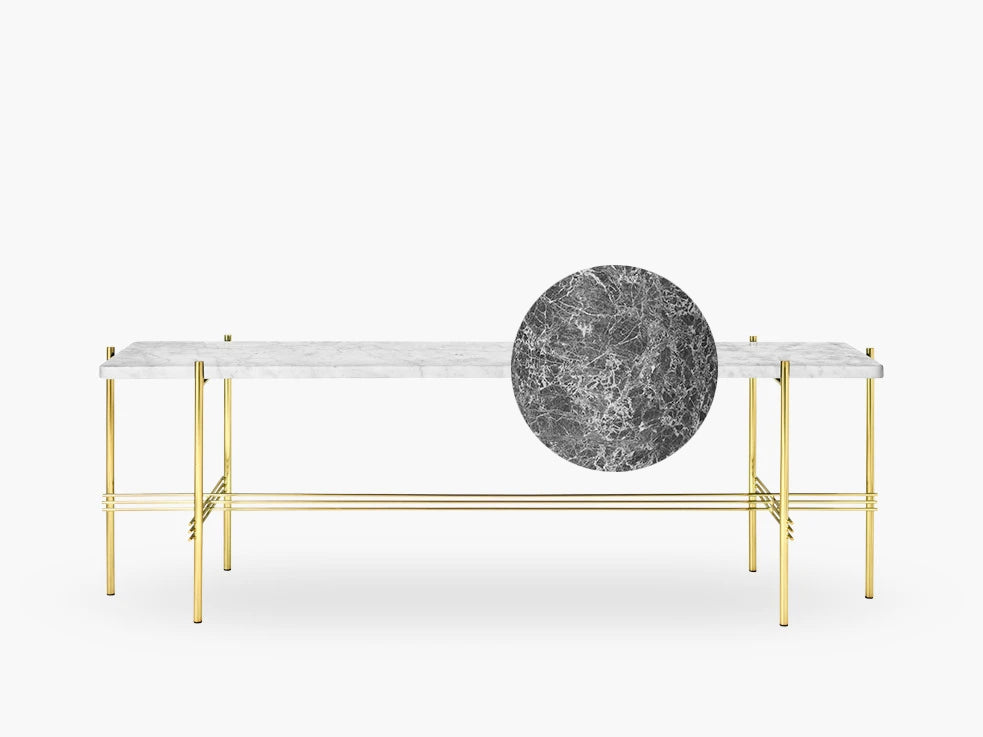 TS Console - 1 rack brass base, marble grey top fra GUBI