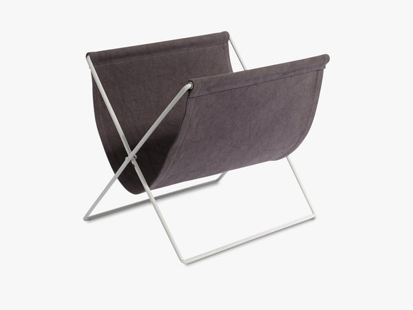 Magazine holder, grey canvas, white rack fra Nordal
