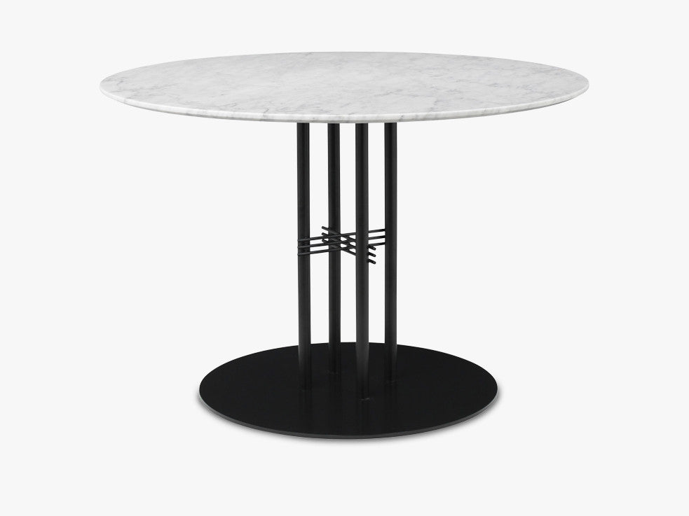 TS Column - Lounge table - Dia 110 Black base, Marble white top fra GUBI