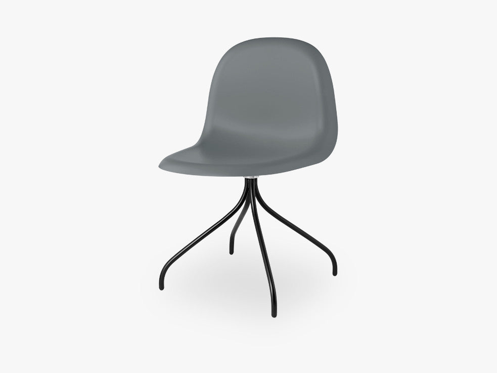 3D Dining Chair - Un-upholstered Swivel Black base, Rainy Grey shell fra GUBI