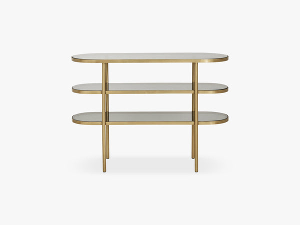 Oval console table, golden/black glass fra Nordal