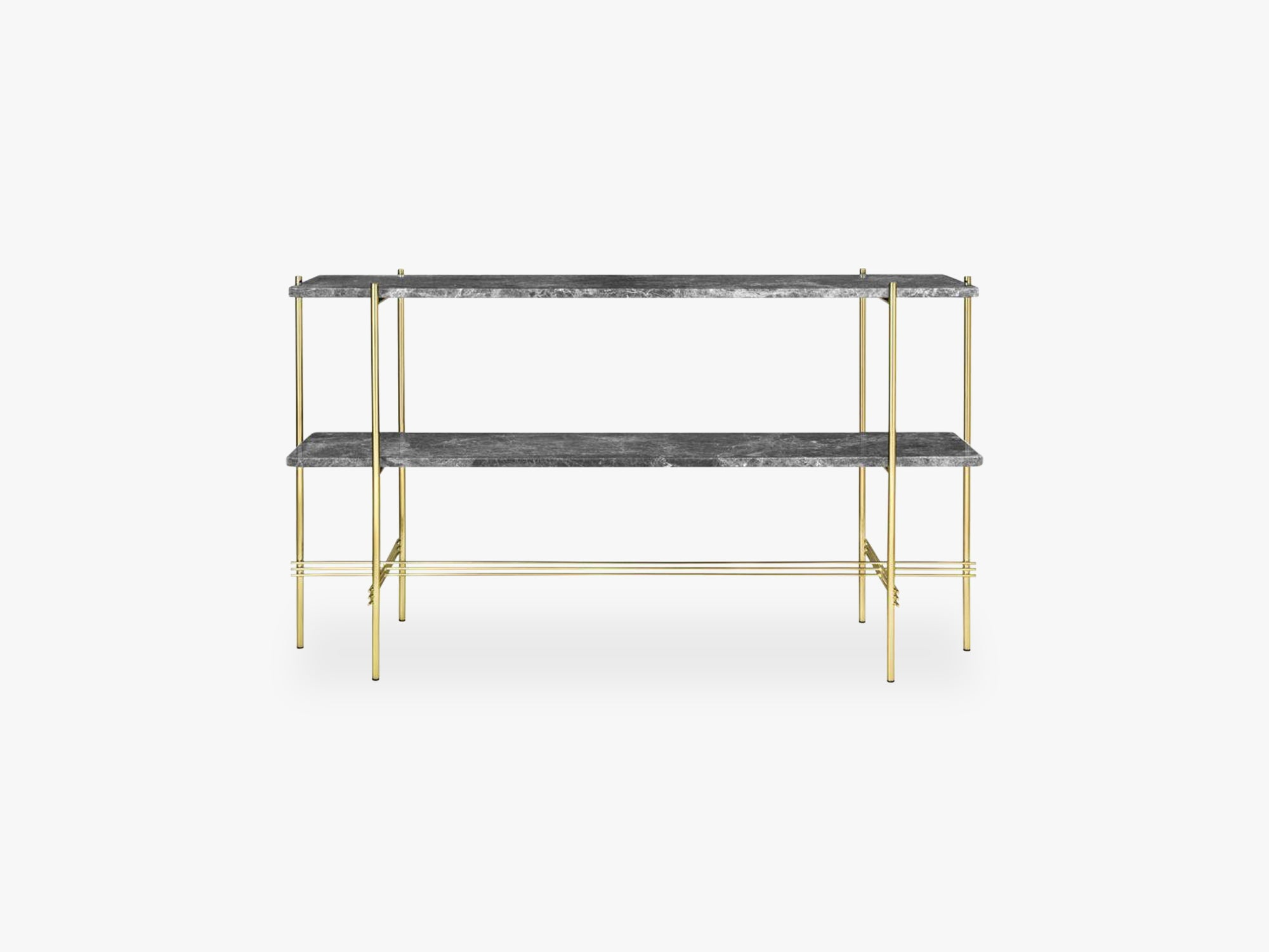 TS Console - 2 rack - Brass base, Marble Grey top fra GUBI