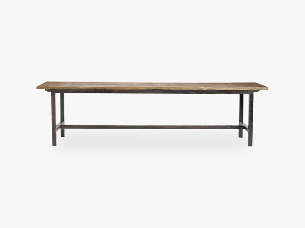 RAW Bench, wood, metal legs, L fra Nordal