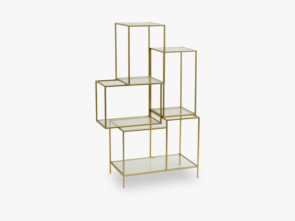 Rack with glass shelves, metal, gold fra Nordal