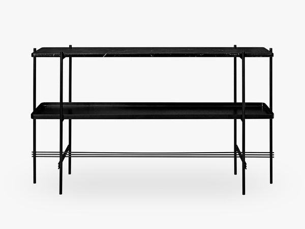 TS Console - 2 rack w tray Black base, Marble black top fra GUBI