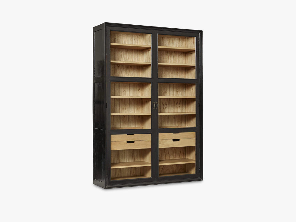 VIVA cabinet w/glass doors and drawers, black fra Nordal