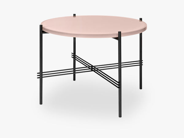 TS Coffee Table - Dia 55 Black base, glass vintage red top fra GUBI