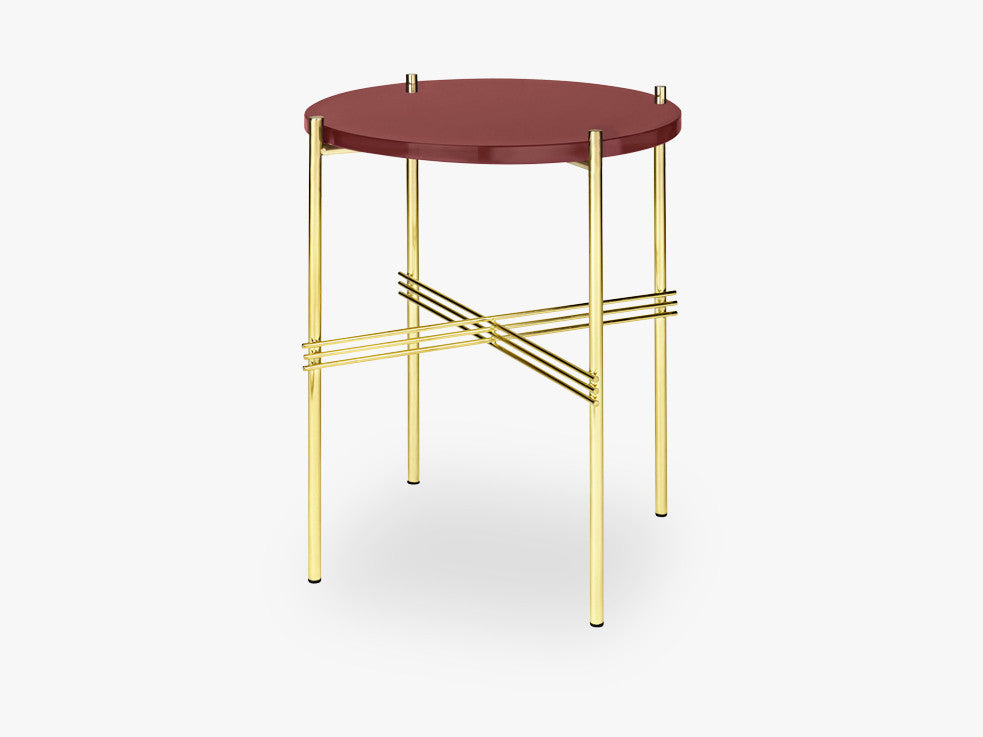 TS Coffee Table - Dia 40 Brass base, glass rusty red top fra GUBI