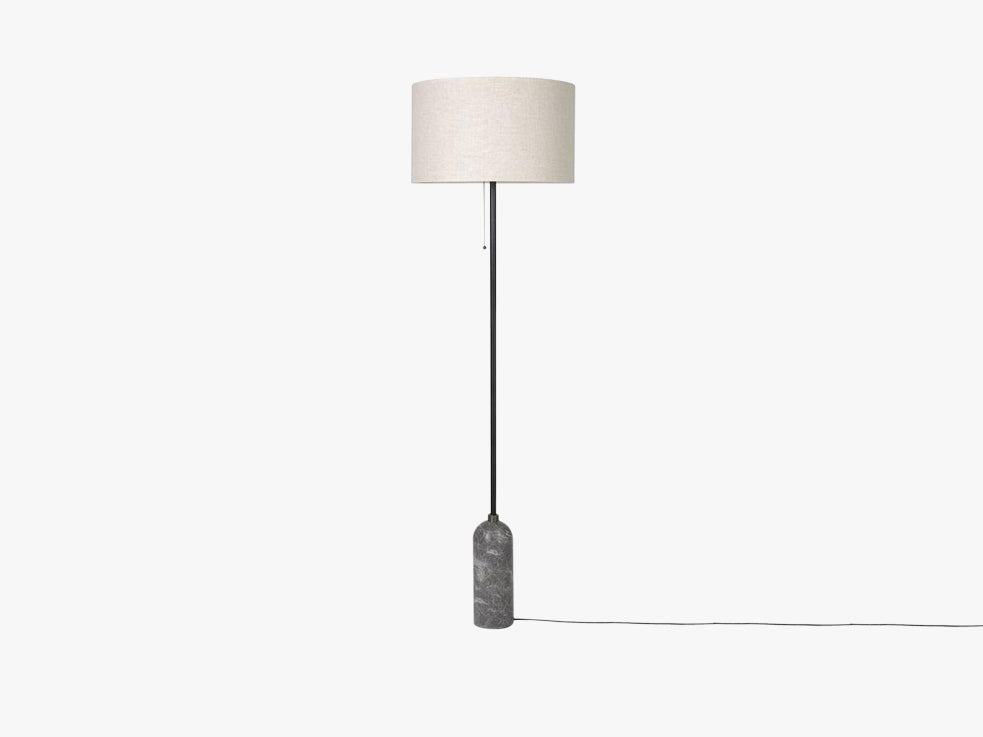 Gravity Floor Lamp - Grey Marble base, Canvas shade fra GUBI