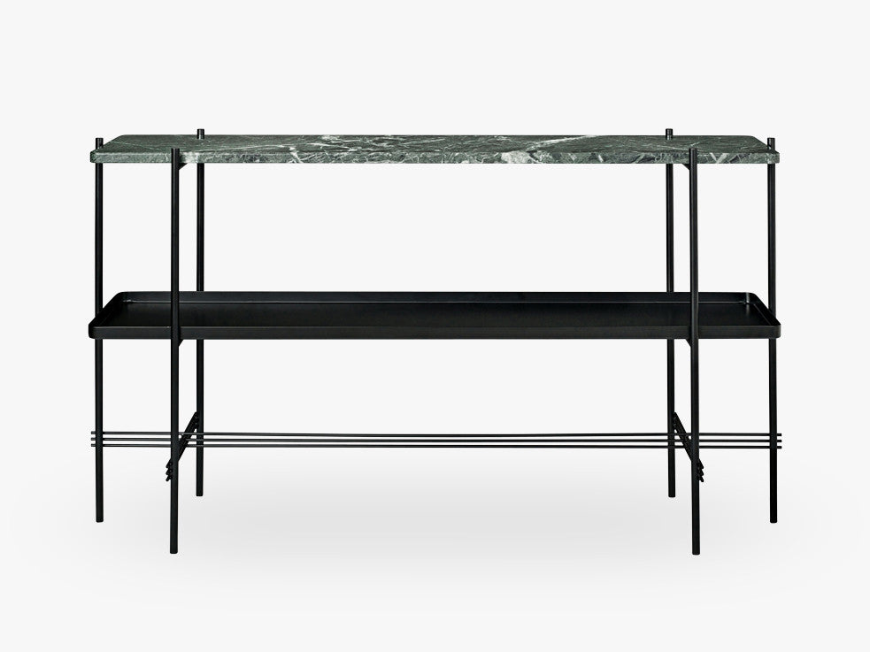 TS Console - 2 rack w tray Black base, Marble green top fra GUBI