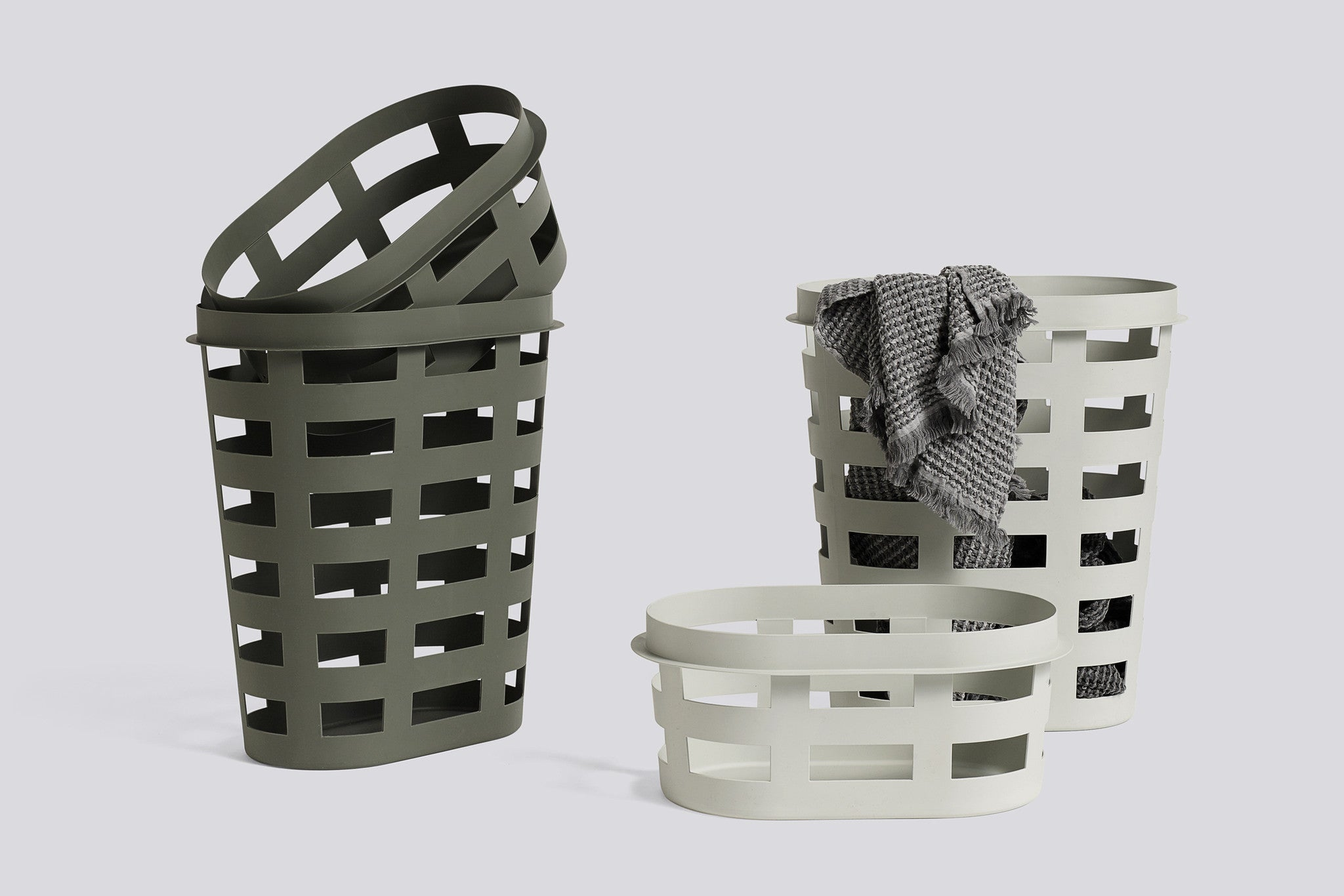 Laundry Basket, Large, Light Grey fra HAY