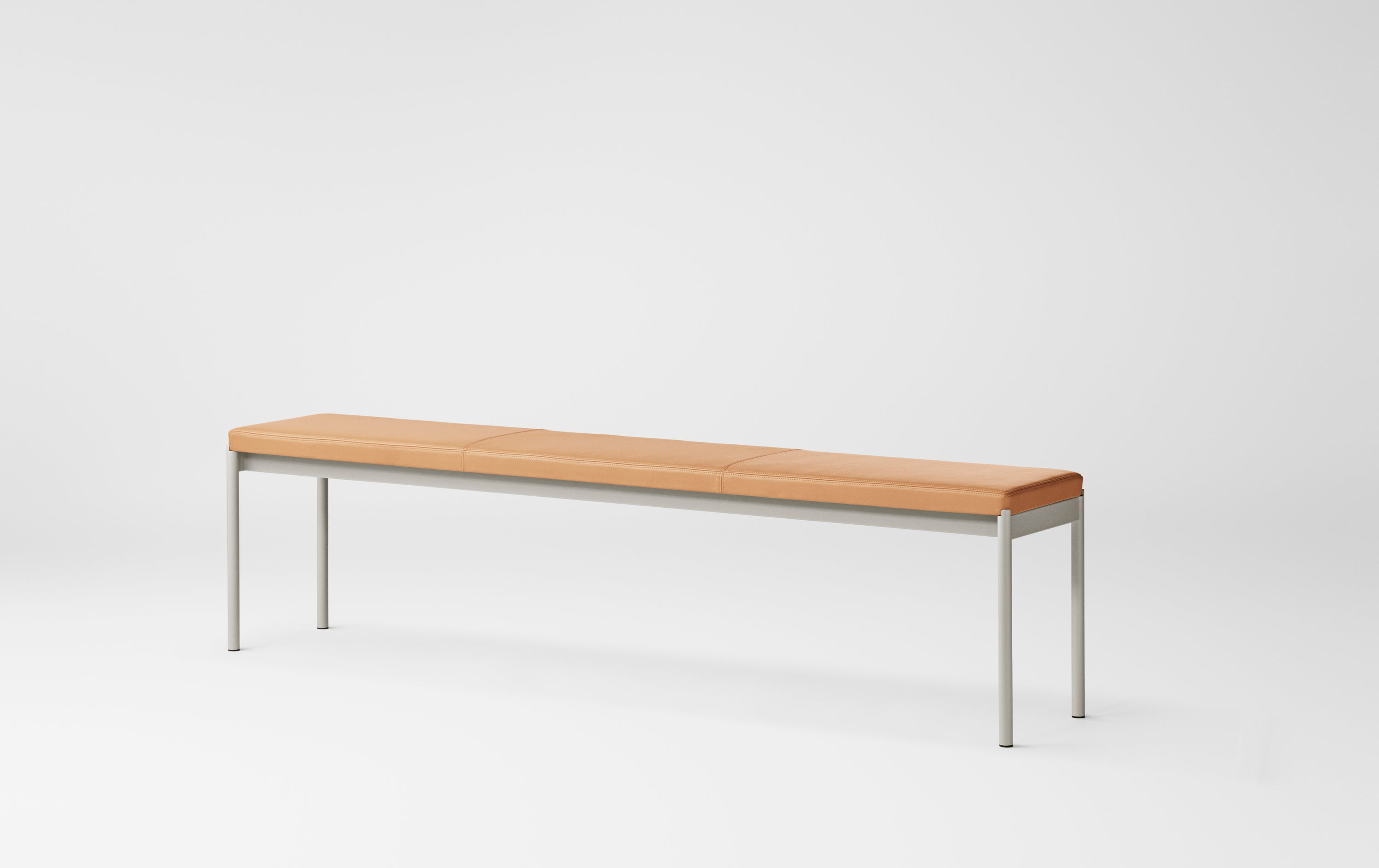 Mies Bench L180, Light Grey/ Natural Leather fra MILLION