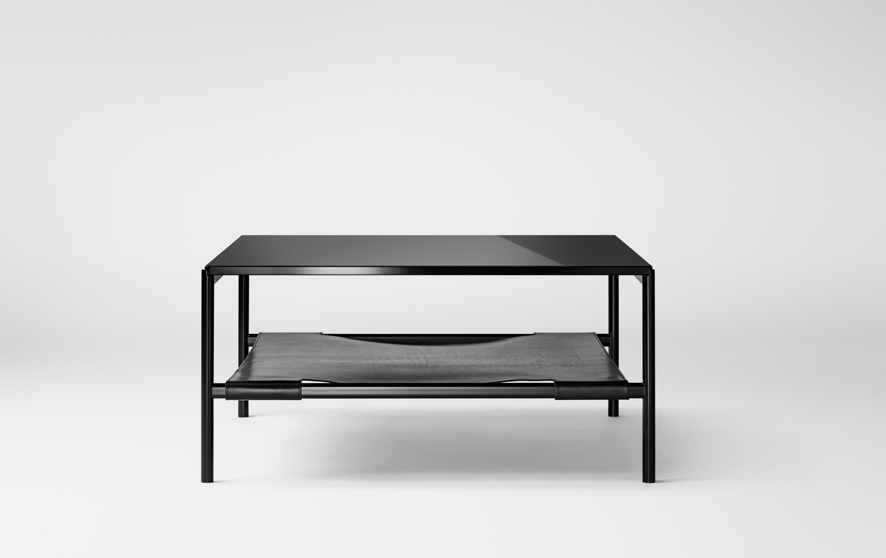 Mies Lounge Table, Black/Black Glass fra MILLION