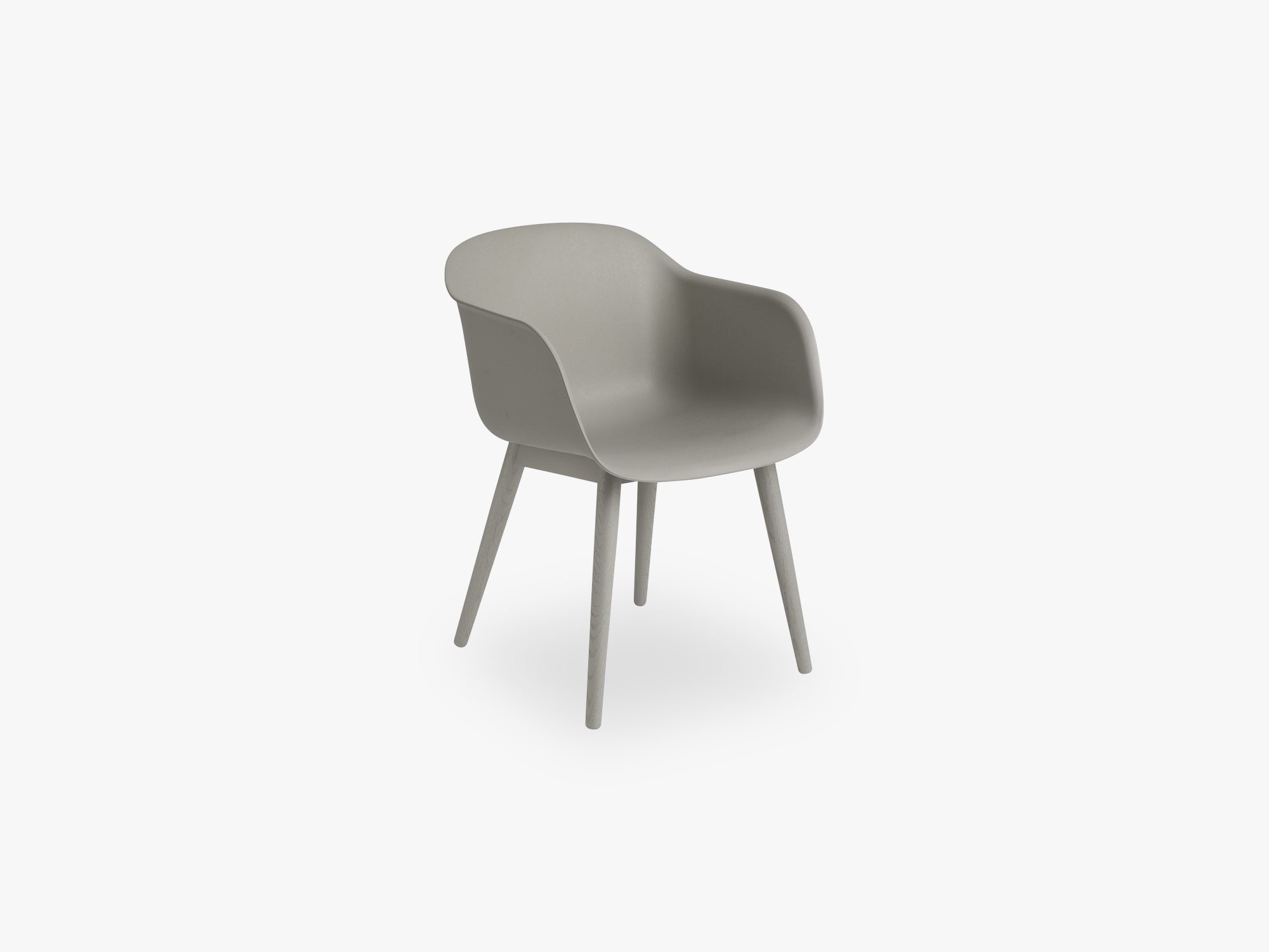 Fiber Armchair - Wood Base - Normal Shell, Grey/Grey fra Muuto