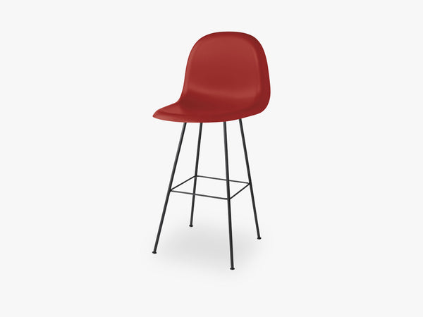 3D Counter Chair - Un-upholstered - 65 cm Center Black base, Shy Cherry shell fra GUBI