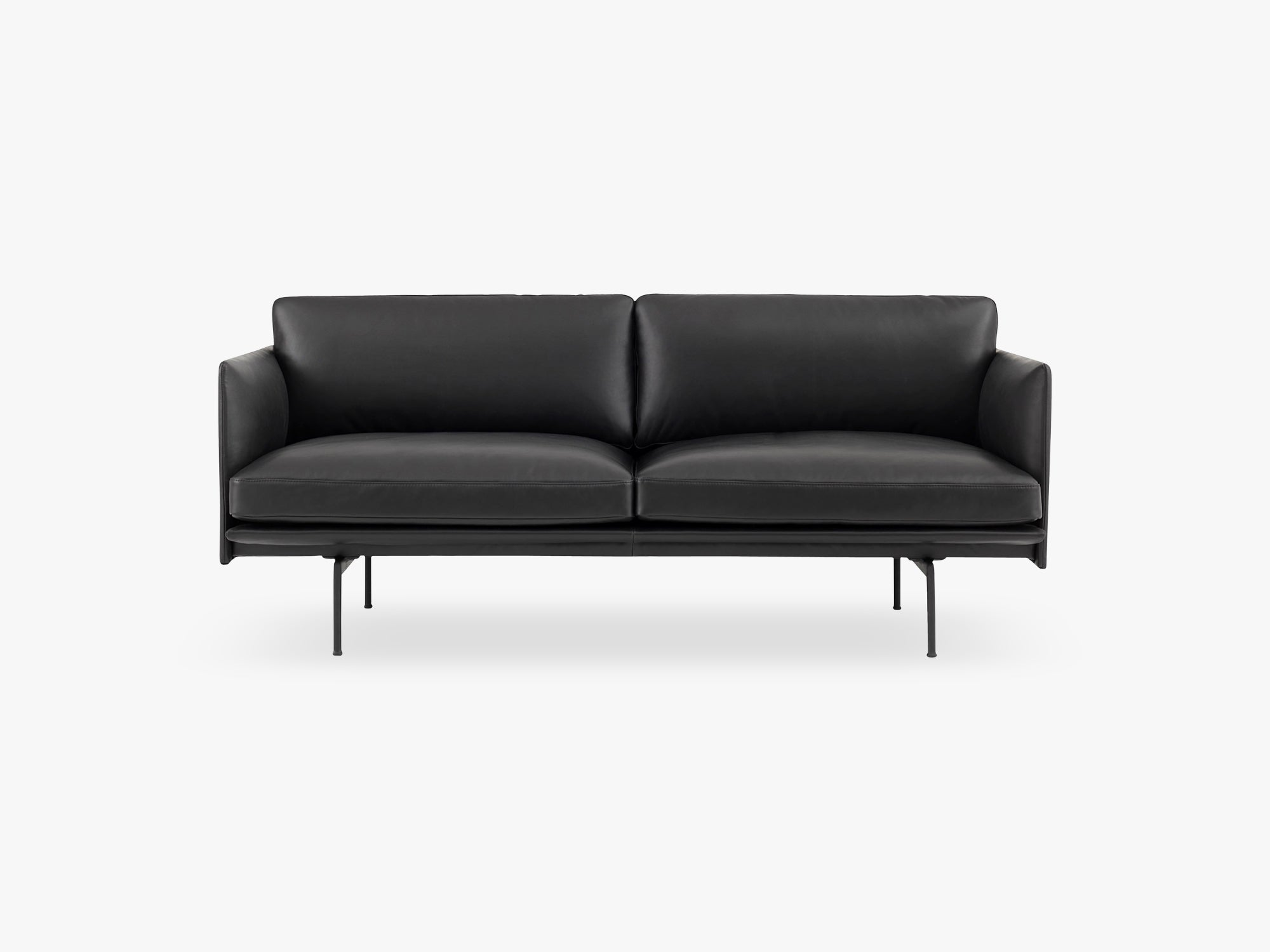 Outline Sofa - 2-Seater, Silk Leather - Black fra Muuto