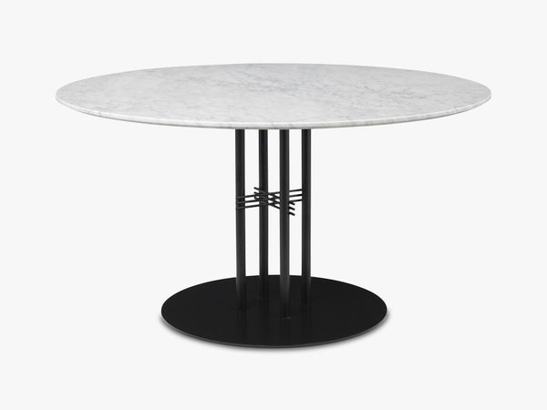 TS Column - Lounge table - Dia 130 Black base, Marble white top fra GUBI