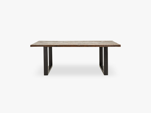 Iron table w/wooden top, raw fra Nordal