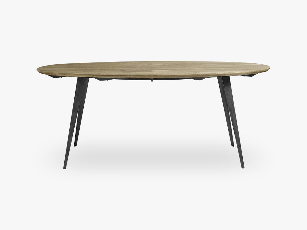 Dining table oval, light wood/black legs fra Nordal