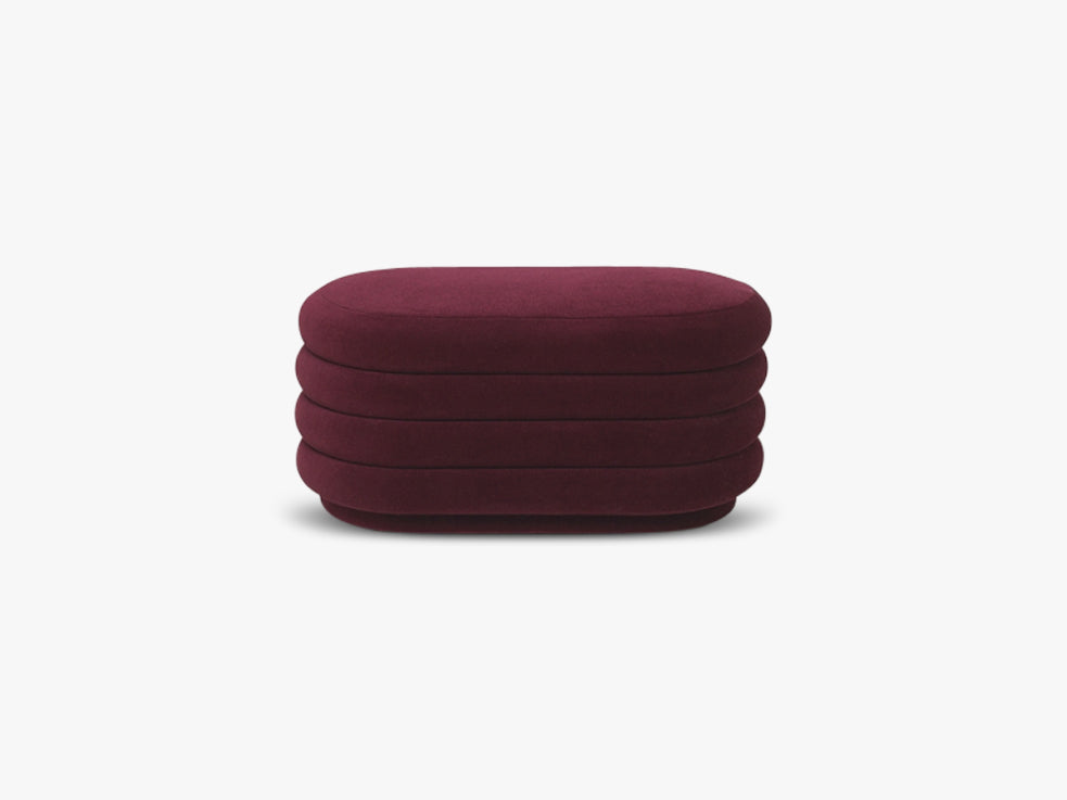 Pouf Oval Medium, Bordeaux fra Ferm Living