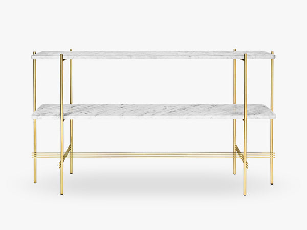TS Console - 2 rack Brass base, marble white top fra GUBI