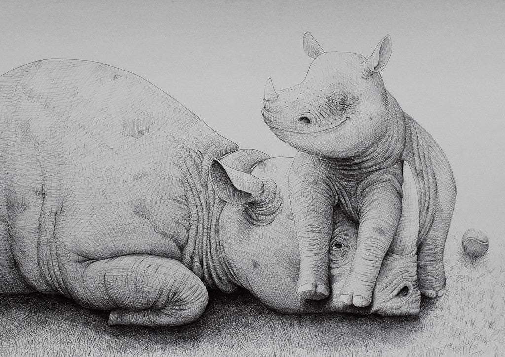 Rhino with Cub fra Morten Løfberg