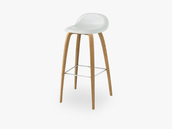 3D Bar Stool - Un-upholstered - 75 cm Oak base, White Cloud shell fra GUBI