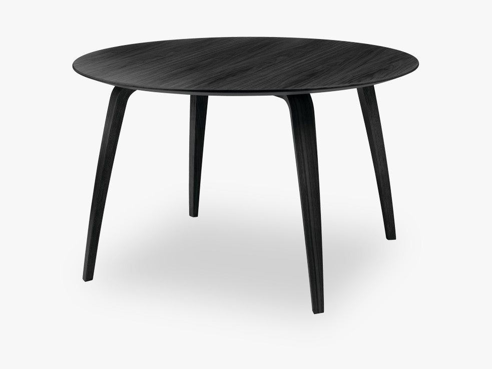 GUBI Dining Table - Round - Dia120, Black Stained Ash base, Black Stained Ash top fra GUBI