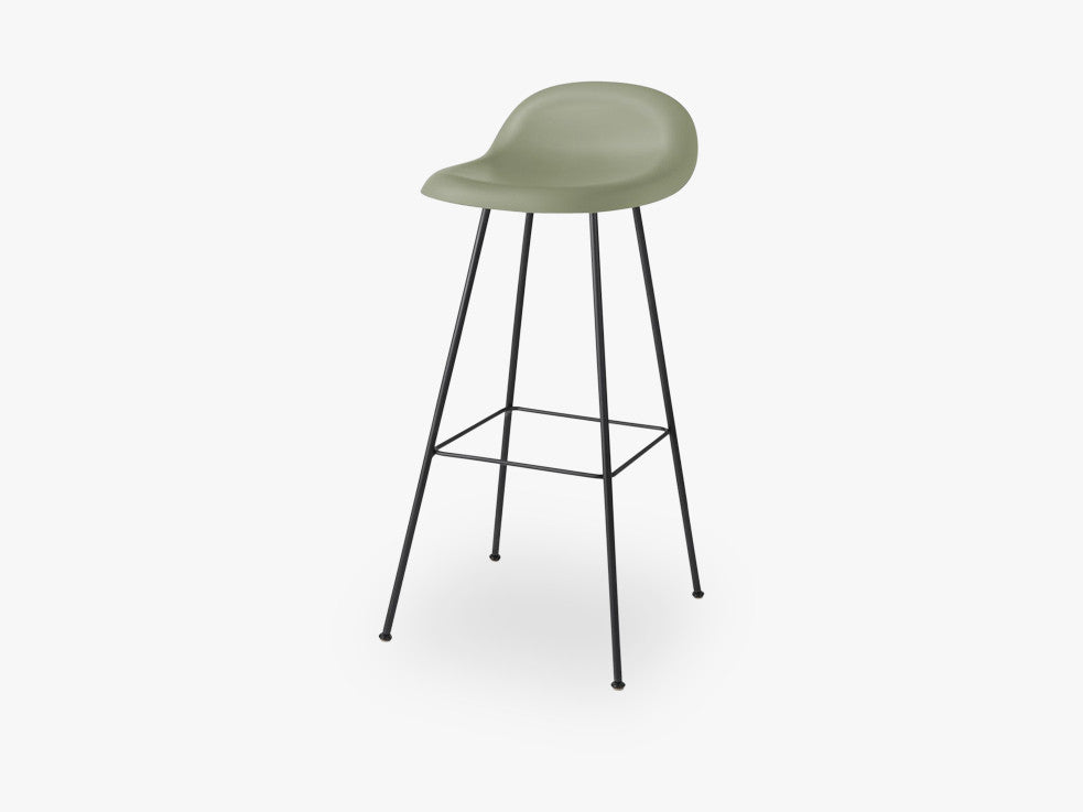 3D Bar Stool - Un-upholstered - 75 cm Center Black base, Mistletoe Green shell fra GUBI