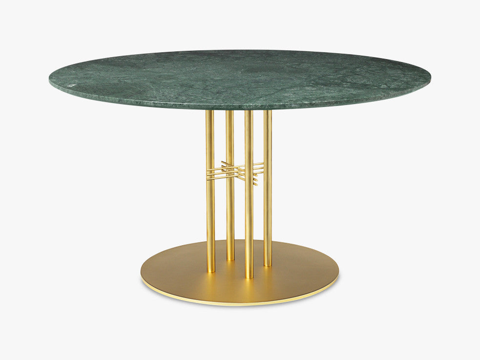TS Column - Dining Table - Dia 130 Brass base, marble green top fra GUBI