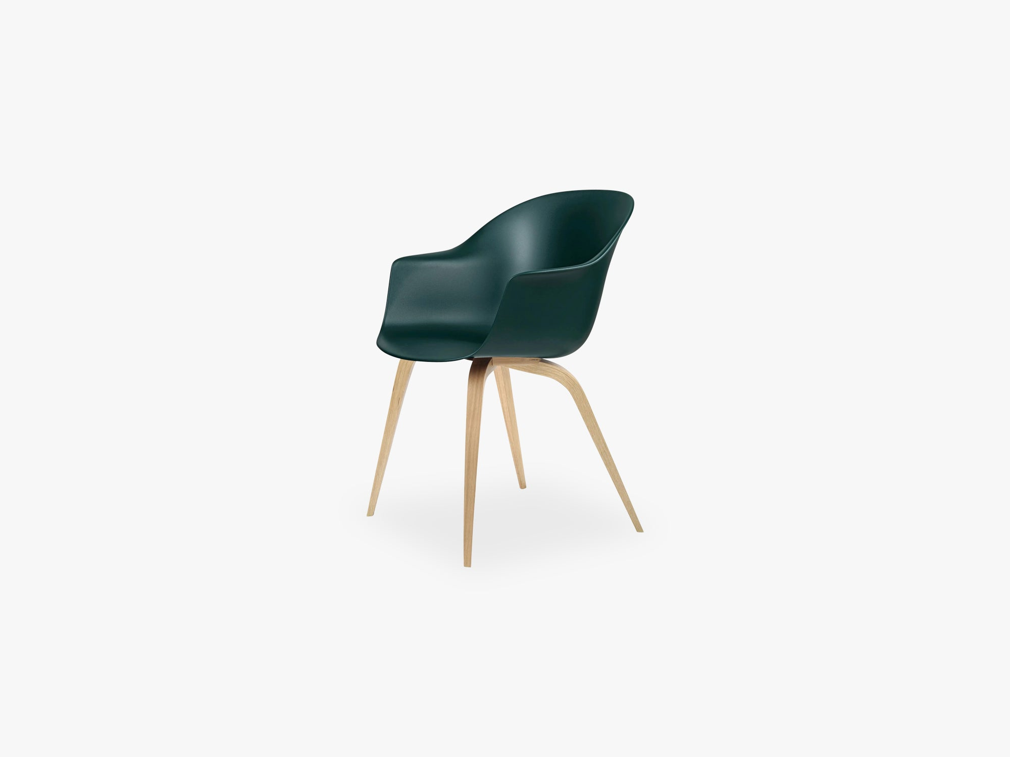 Bat Dining Chair - Skal m Wood base - Oak Semi Matt, Dark Green fra GUBI