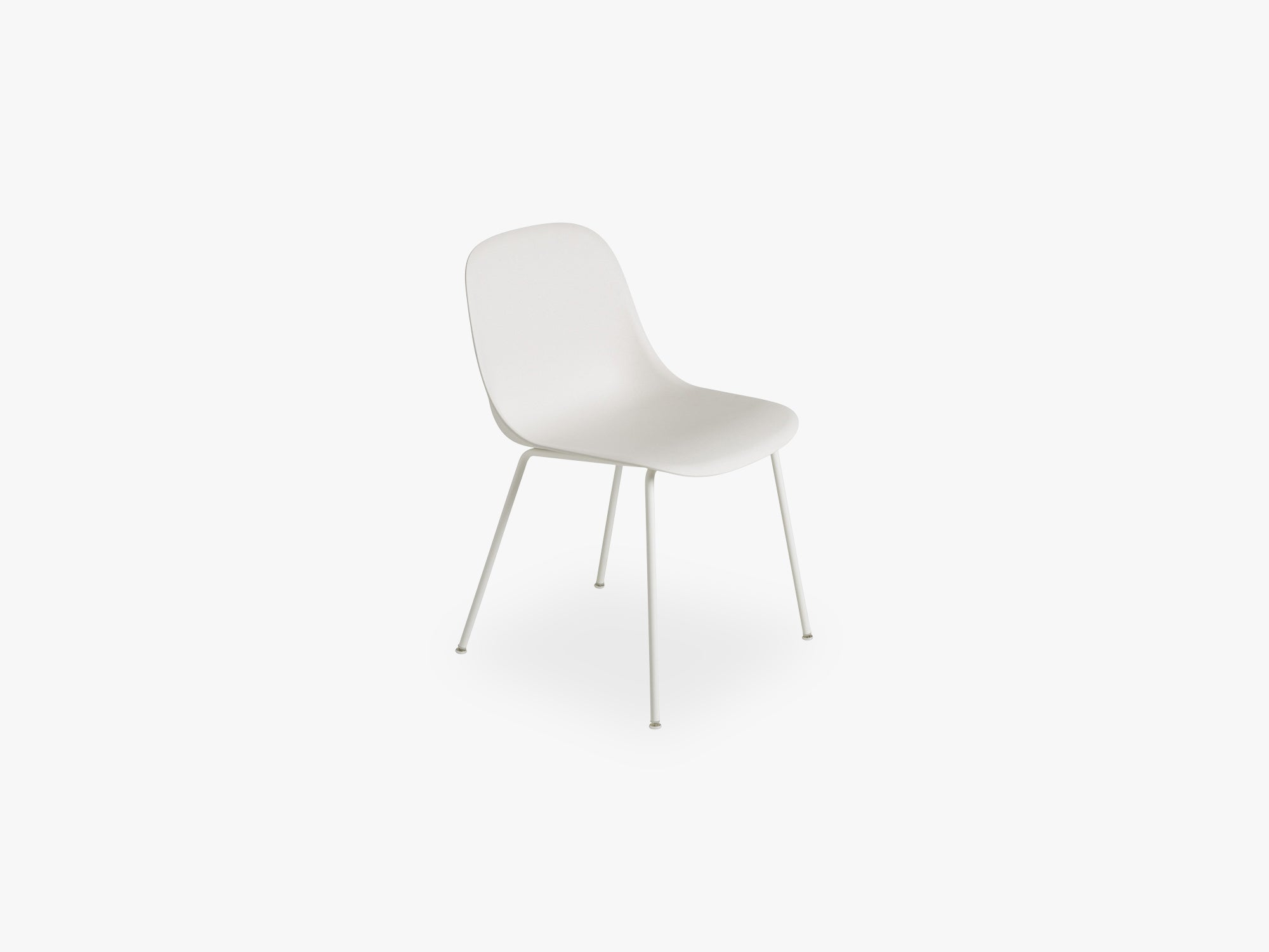 Fiber Side Chair - Tube Base - Normal Shell, Natural White/White fra Muuto